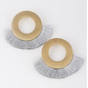 Jewelry - Grey and Gold Circle Fringe Earring